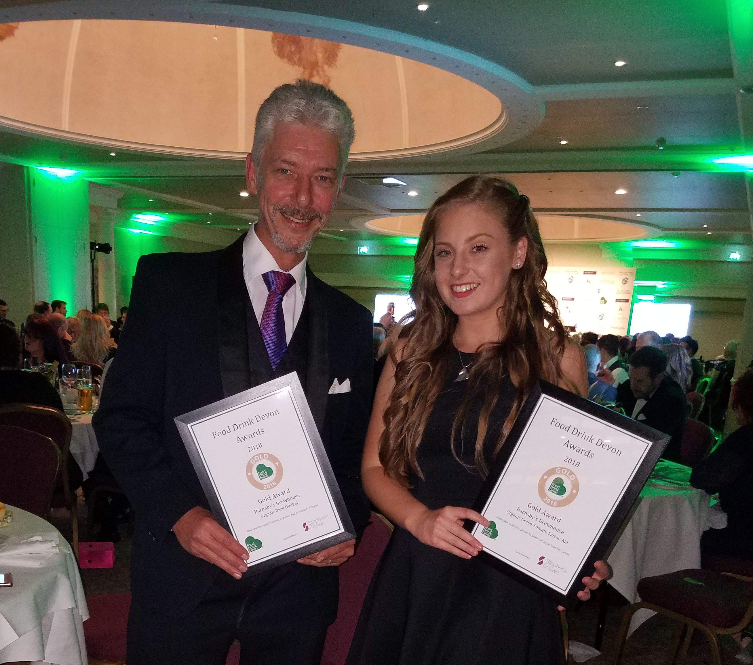 Double Gold for Barnaby's Brewhouse at the Food Drink Devon awards 2018!