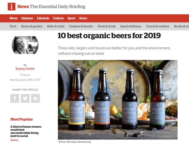 Barnaby's rated one of best 10 organic beers on 'i News'