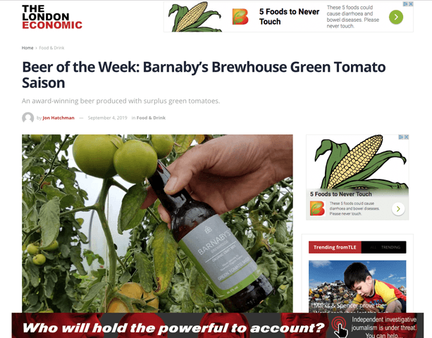 Green Tomato Saison – Beer of the Week in The London Economic